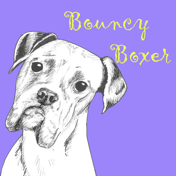 Bouncy Boxer Dog Breed Print by Clare Thompson