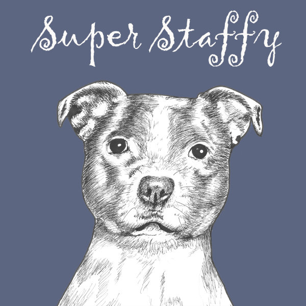 Super Staffy Staffordshire Bull Terrier Dog Breed Print by Clare Thompson