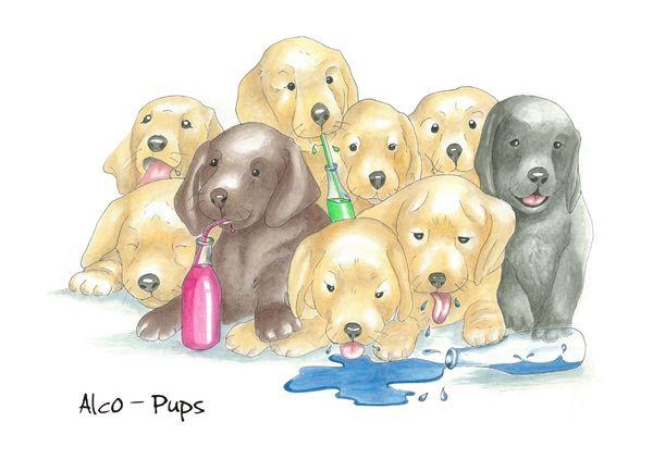 Alco-Pups - Blank Card