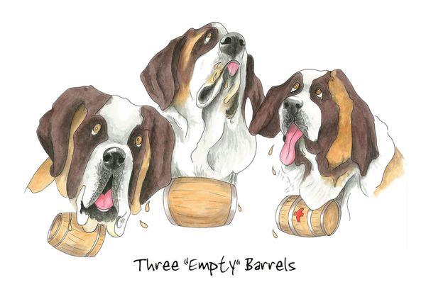 Three Empty Barrels - Blank Card