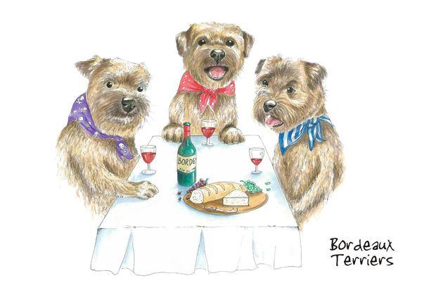 Bordeaux Terriers - Blank Card