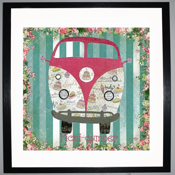 PICNI-CAMPER - VW Camper Collage by Clare Thompson