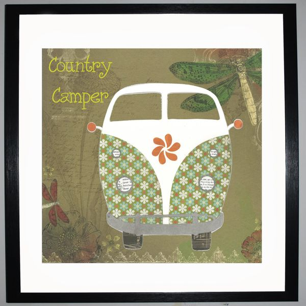 COUNTRY CAMPER - VW Camper Collage by Clare Thompson