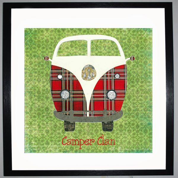 CAMPER CLAN - VW Camper Collage by Clare Thompson