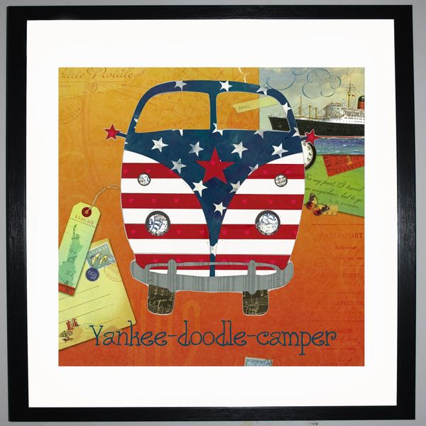 YANKEE-DOODLE-CAMPER - VW Camper Collage by Clare Thompson