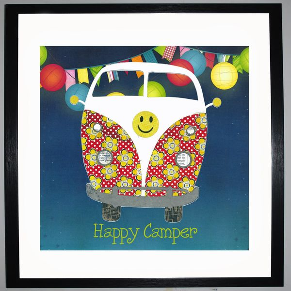 HAPPY CAMPER - VW Camper Collage by Clare Thompson