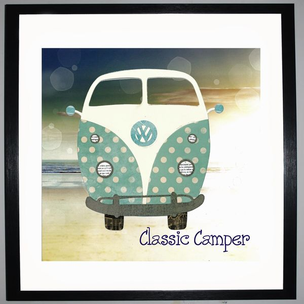CLASSIC CAMPER - VW Camper Collage by Clare Thompson