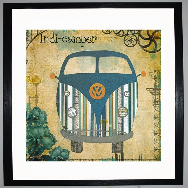 INDI-CAMPER - VW Camper Collage by Clare Thompson