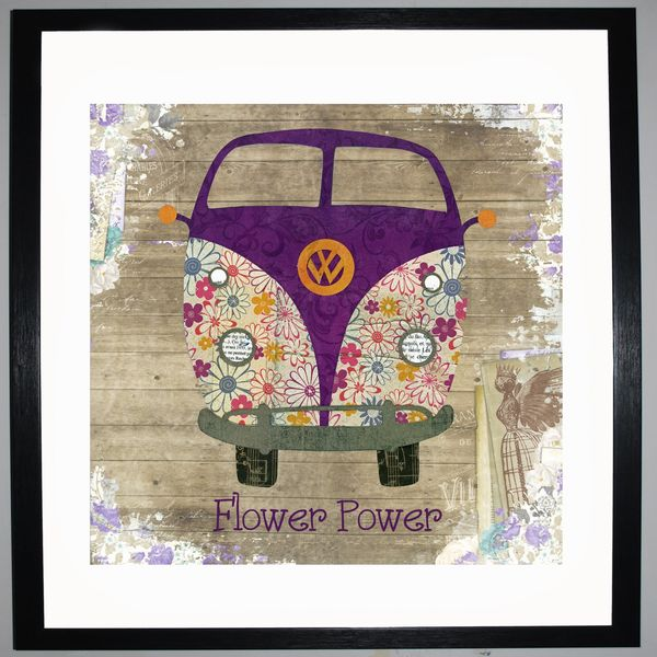 FLOWER POWER - VW Camper Collage by Clare Thompson