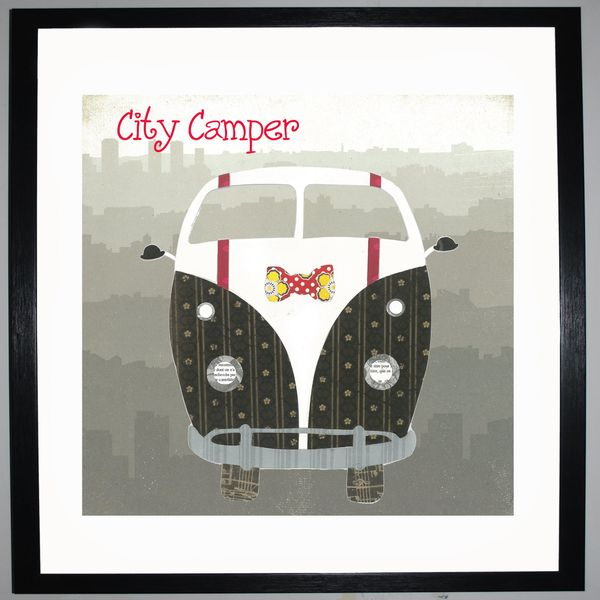 CITY CAMPER - VW Camper Collage by Clare Thompson
