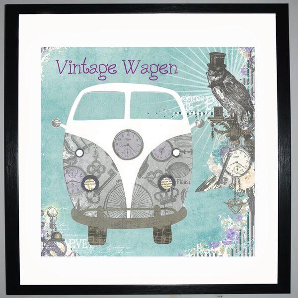 VINTAGEWAGEN - VW Camper Collage by Clare Thompson