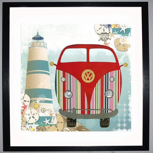 SEASIDE CAMPER - VW Camper Collage by Clare Thompson