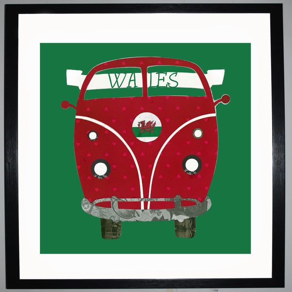 CAMPER FAN - VW Camper Collage by Clare Thompson
