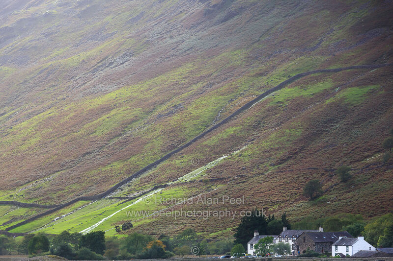 Wasdale Head and the slopes of Yewbarrow fell Cumbria England UK