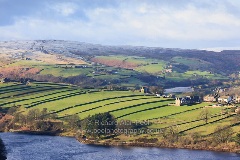 View towards Lower Laithe Reservoir and Worth Valley West Yorkshire UK