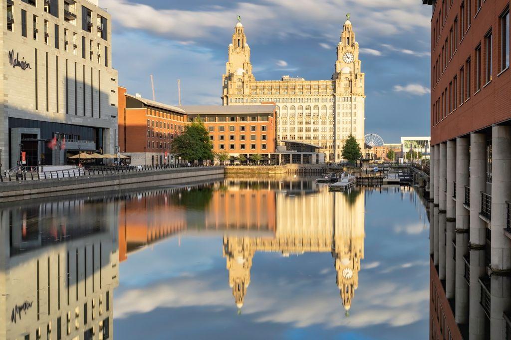 Liver Buildings Princes Dock Reflections