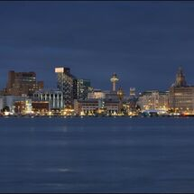 Liverpool Waterfront Panorama new blue hour