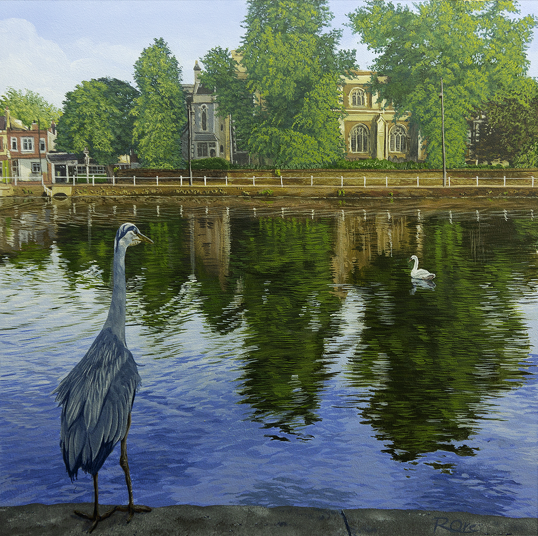 Carshalton Ponds with Heron