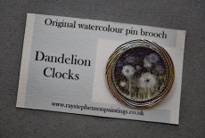 'Dandelion Clocks' original watercolour pin brooch
