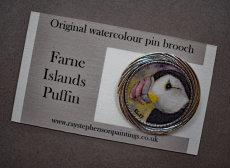 'Farne islands Puffin' original watercolour pin brooch