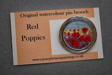 'Red Poppies' original watercolour pin brooch