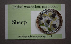 'Sheep' original watercolour pin brooch