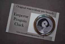 'Emperor Penguin chick' original watercolour pin brooch