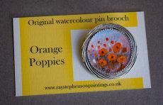 'Orange Poppies' original watercolour pin brooch