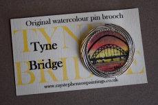'Tyne Bridge' original watercolour pin brooch