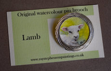 'Lamb' original watercolour pin brooch
