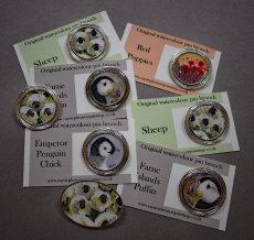 Original Watercolour pin brooches
