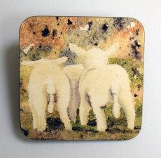 'Lambs tails' printed coaster
