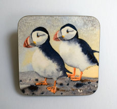 'Puffins on the Farne islands' printed coaster