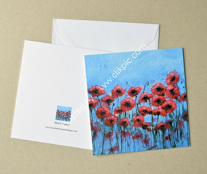 5X5 inches greeting card 'Red Poppies'