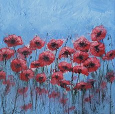 5X5 inches greetings card 'Red poppies'