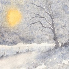 5X5 inches greetings/Christmas card 'Winter's Sun'