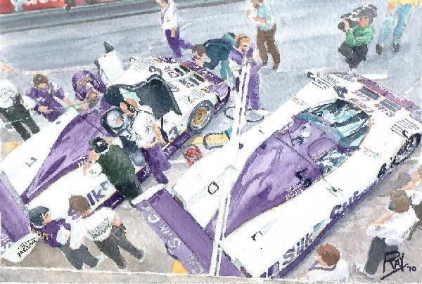 jaguar cats le mans 1990 watercolor
