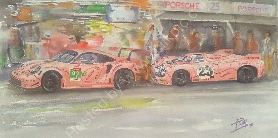 Porsche 'pink pig' version 1971 and 2018