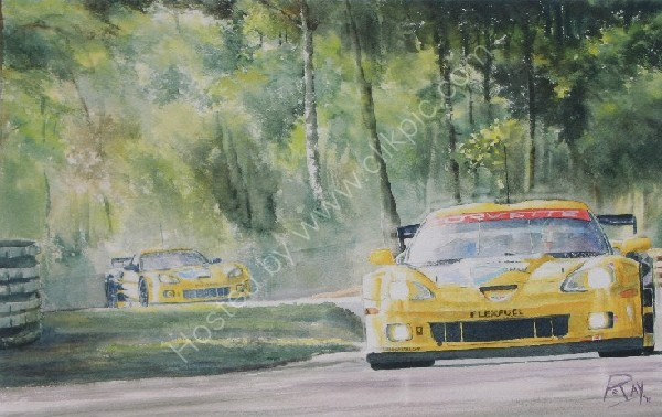 Corvette le mans 24H watercolor
