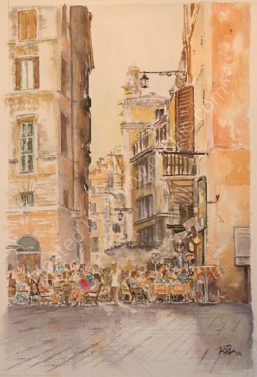roman piazza watercolour