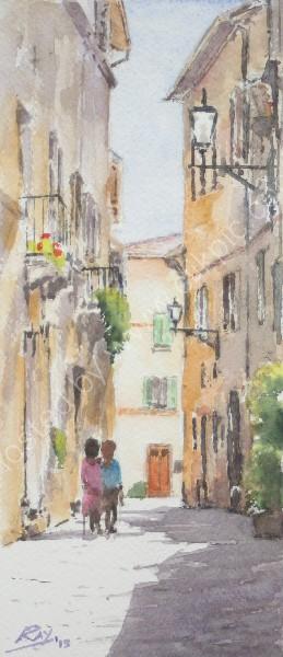 tuscan sun watercolour aquarelle