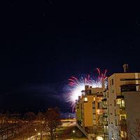 New Year fireworks at Eiranranta, Helsinki