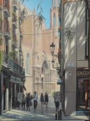 calle argenteria and santa maria del mar, barcelona