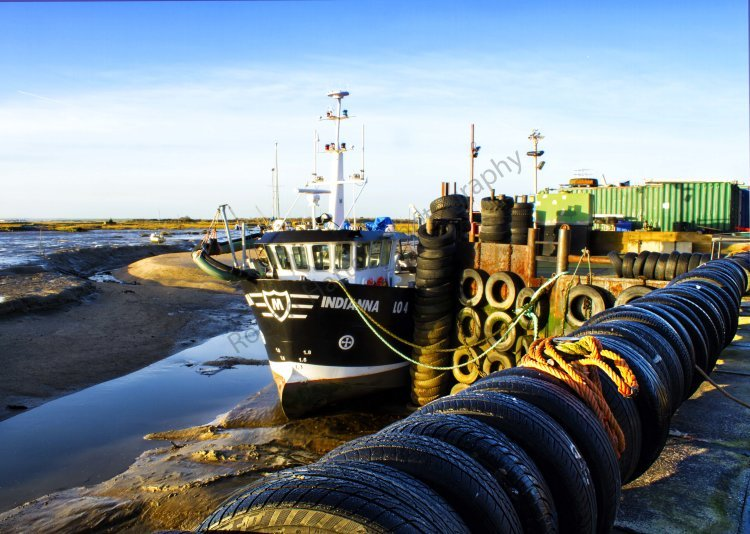 A fishing boat moored at Leigh on Sea, Essex a Small fishing Village