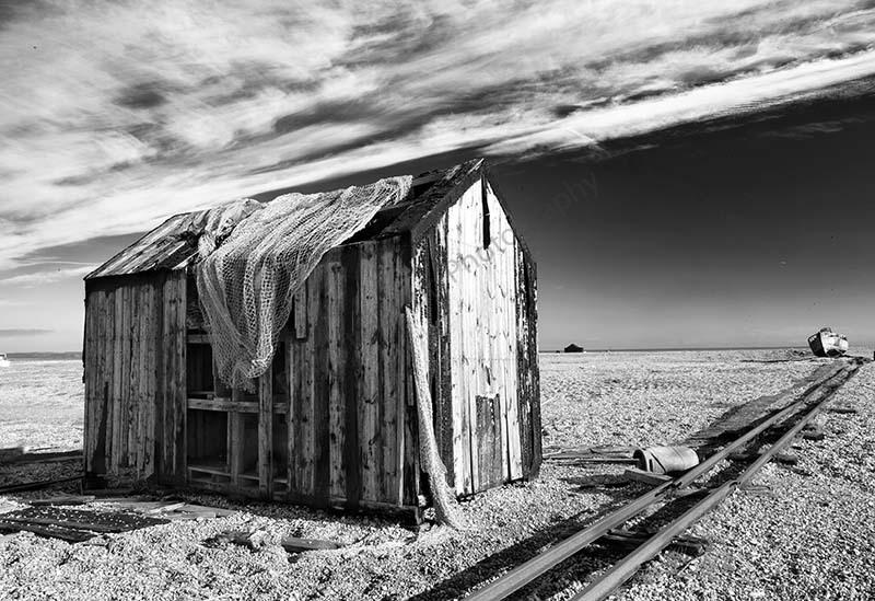 Derelict beach hut