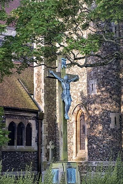 Christ on the Cross outside a church in Brentwood Essex
