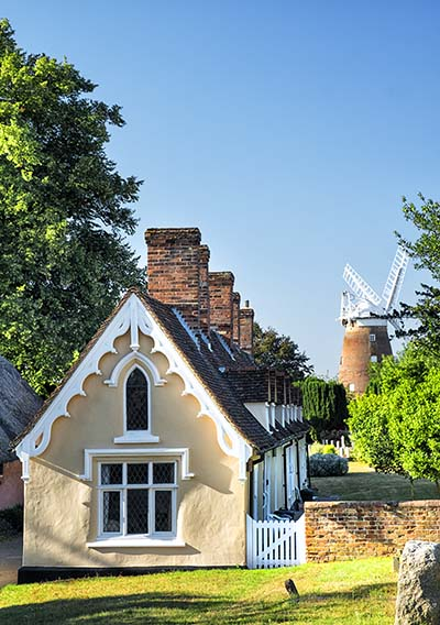 Thaxted Cottages with Windmill in background, Thaxted is a small village in Essex