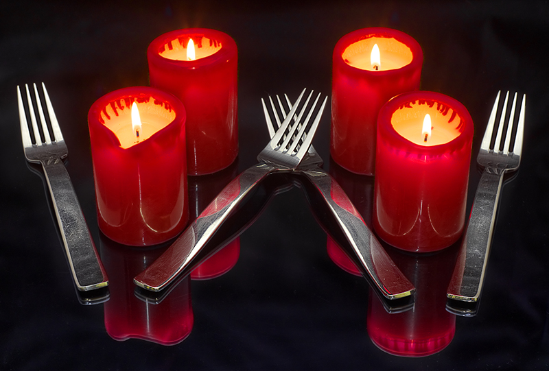 Four candles and Fork handles