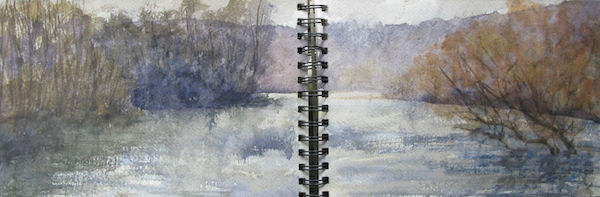 outdoor watercolour lake