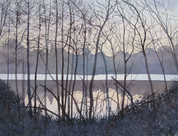 watercolour evening lake